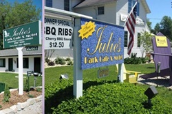 julies park cae and motel pet friendly restaurant in door county, dog friendly restaurant in door county wisconsin